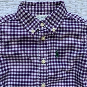 Purple and white checked button down shirt